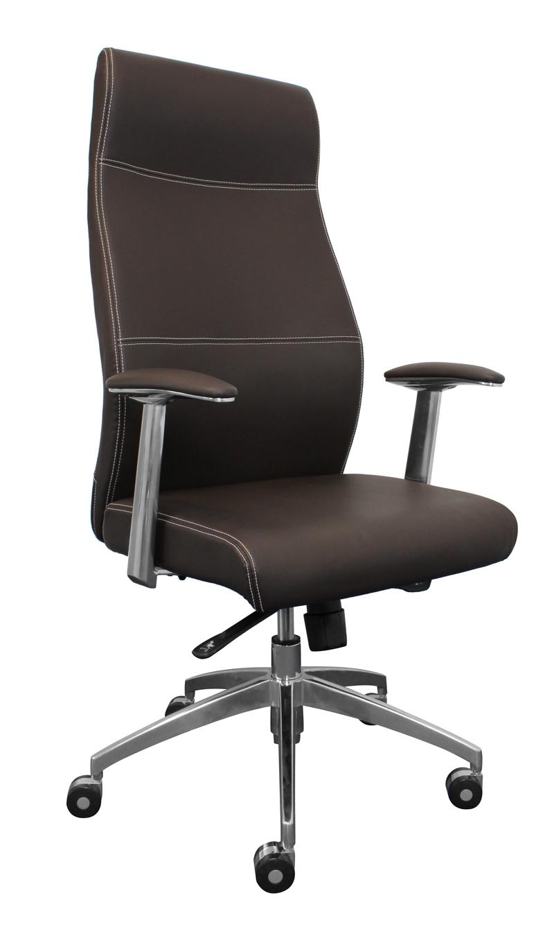 Silla de oficina a21 en acero y polipiel marr n silla de for Silla marron