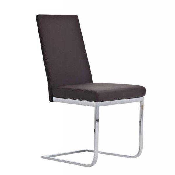 silla de comedor o confidente c muy confortable en piel marrn