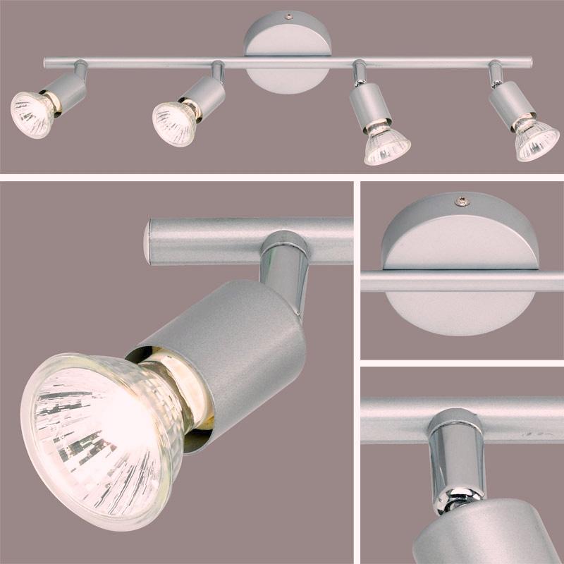 L mpara de techo 4 apliques color titanioio l mpara de techo hal gena 4 apliques color - Apliques para techo ...