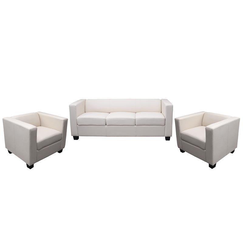 Conjunto de sof s lille 1 sof de 3 plazas y 2 sofas for Sofa 2 plazas polipiel