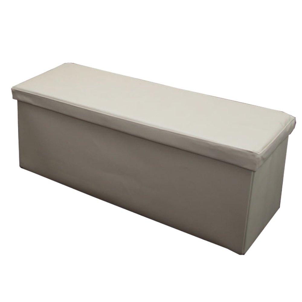 Banco taburete con almacenaje color crema 110x43x40 cm - Reposapies con almacenaje ...