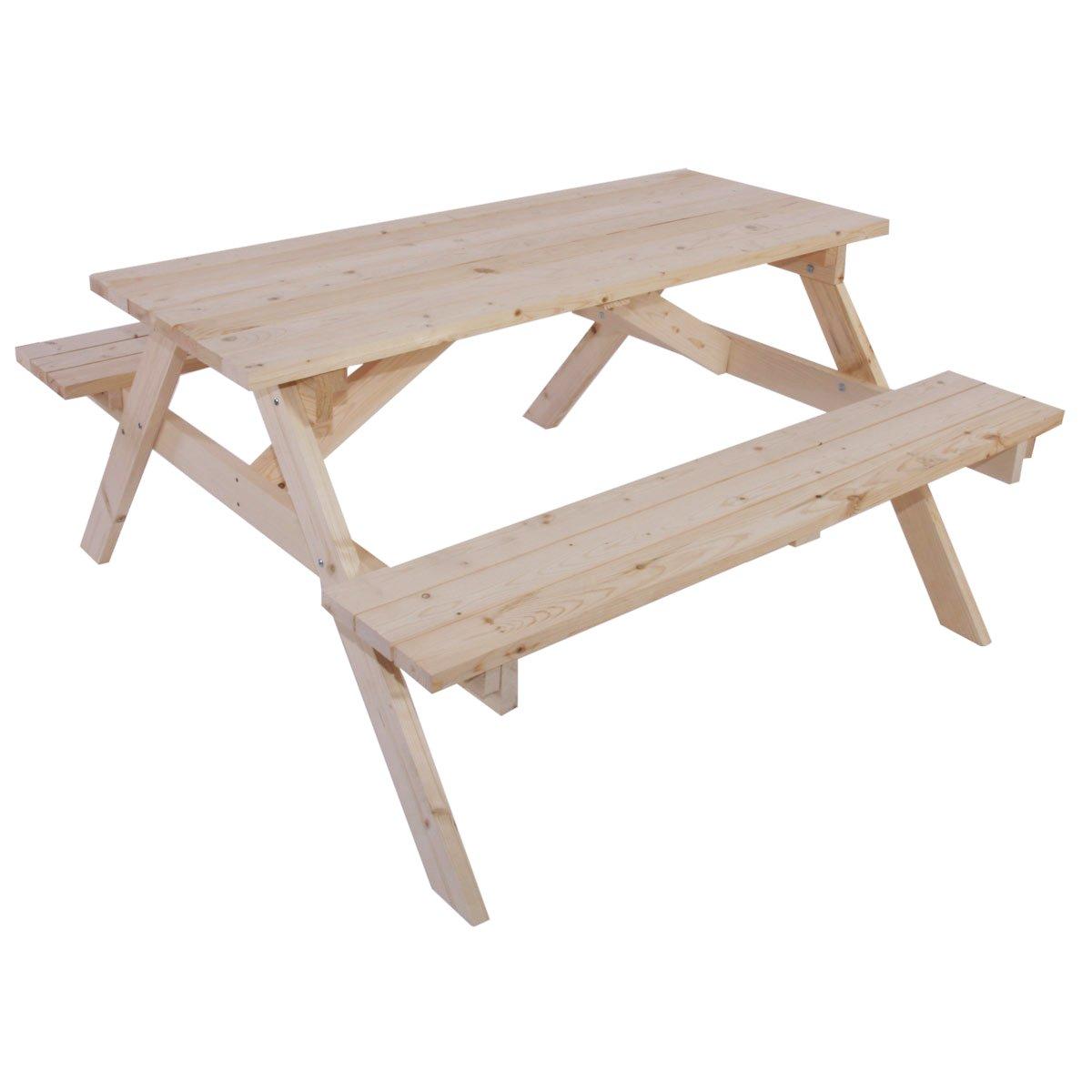 Conjunto mesa de picnic con bancos acoplados en madera - Mesa con bancos ...