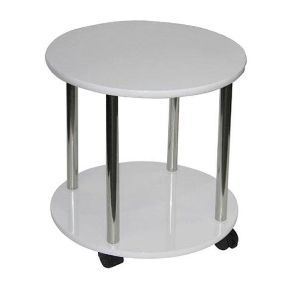 Estantes De Acero Para Baño:Estante de Baño, mesa redonda con 2 bandejas, color blanco