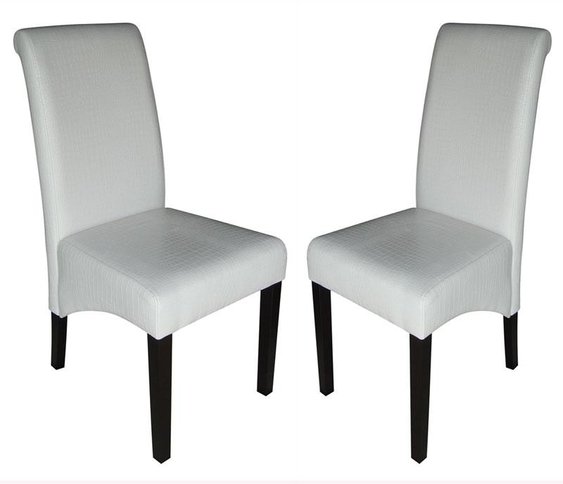 Lote 2 sillas de comedor m37 en polipiel color crema y for Sillas de comedor negras