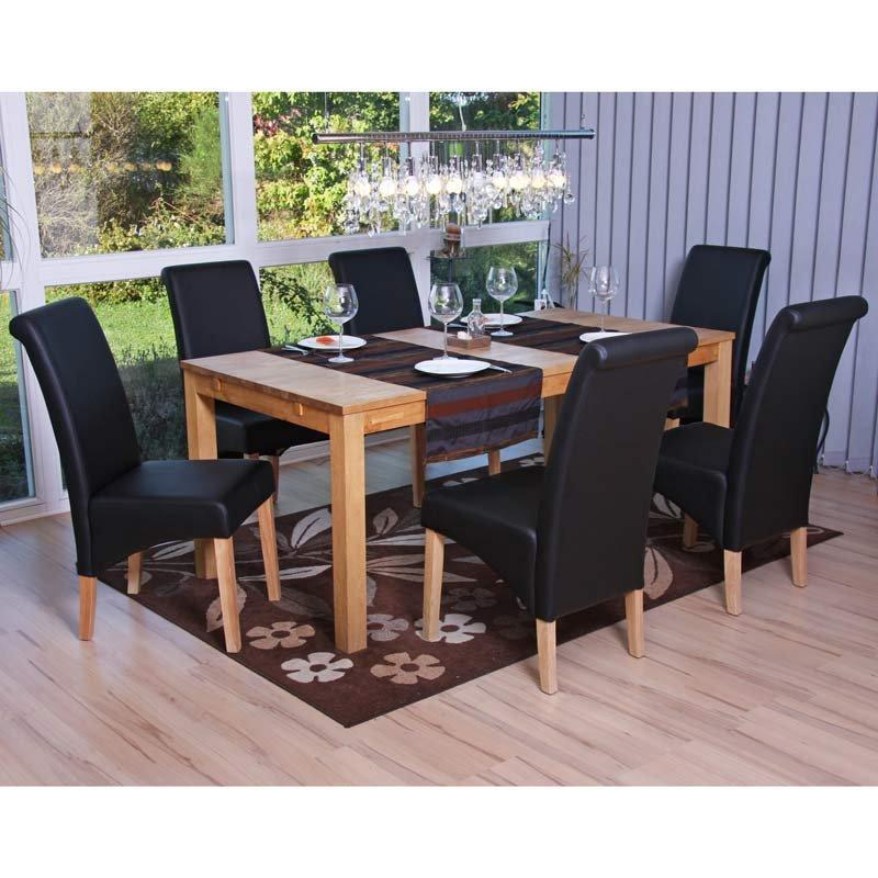 Lote 6 sillas de comedor turin tapizadas en piel negro y for Sillas de comedor de madera tapizadas