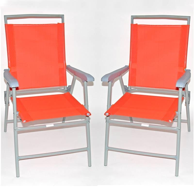 Lote 2 sillas de camping m13 plegables color naranja - Sillas plegables de camping ...