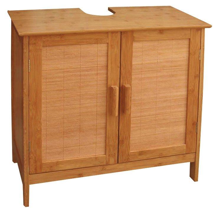 Muebles De Baño Doble Lavabo:Armario de Baño para Lavabo en Bambú , mueble de baño, doble puerta