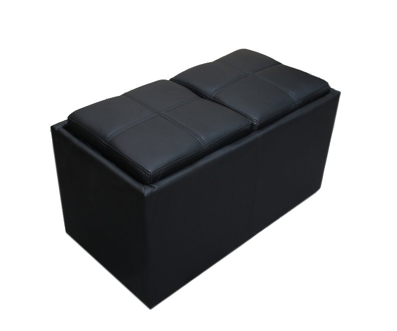 Taburete almacenaje bench negro con bandeja de cubitos - Reposapies con almacenaje ...