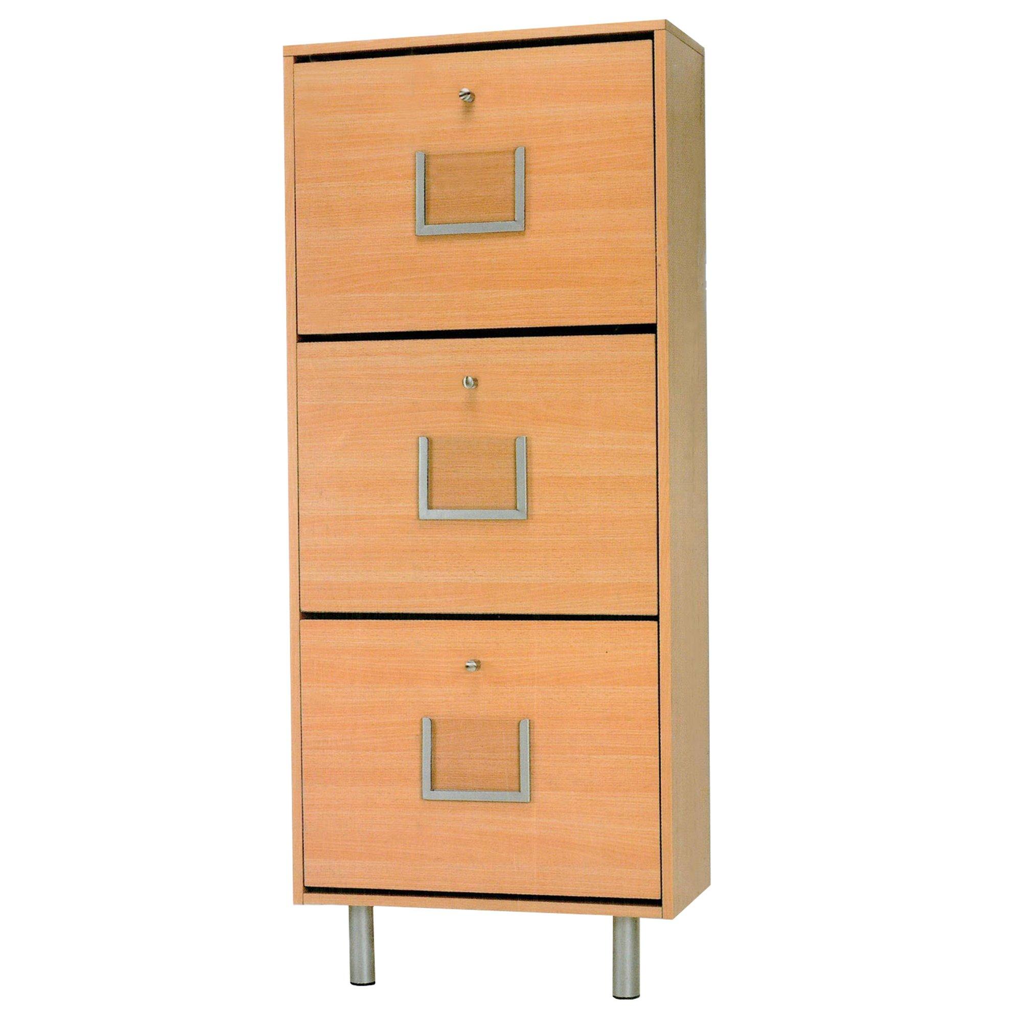Zapatero en madera con 3 estantes en color haya for Zapatero color madera