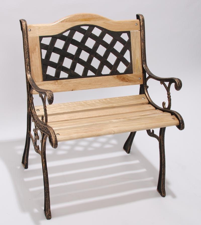 Silla de jard n loures hierro bronce madera 60x55x78 cm for Sillas de jardin de hierro