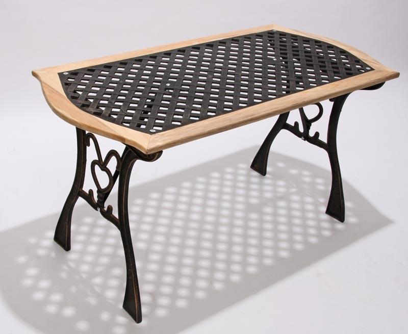 Mesa de jard n loures hierro color bronce y madera mesa - Mesas de hierro para jardin ...