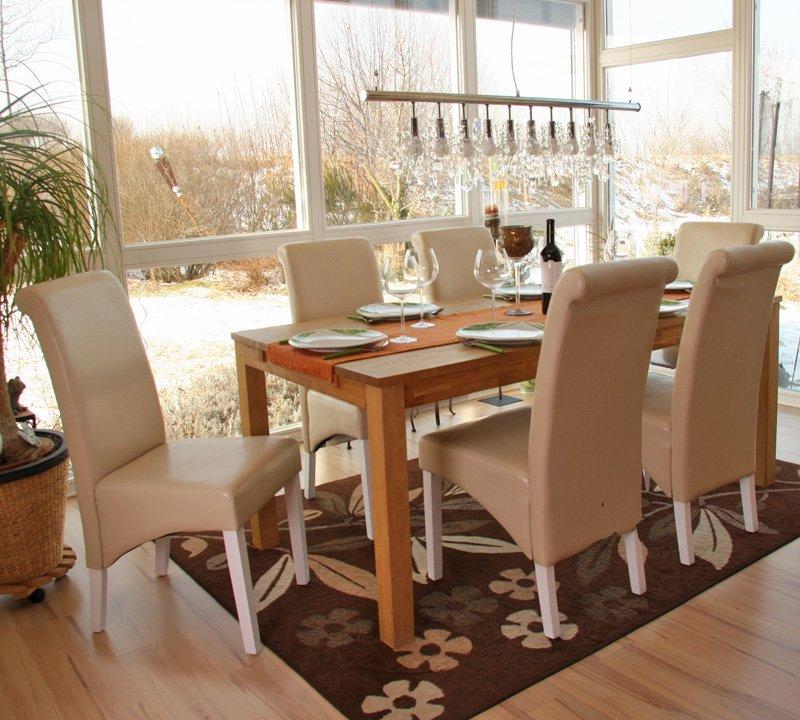 Lote 6 sillas de comedor m37 en cuero color crema y patas en madera blancas - Sillas comedor blancas ...