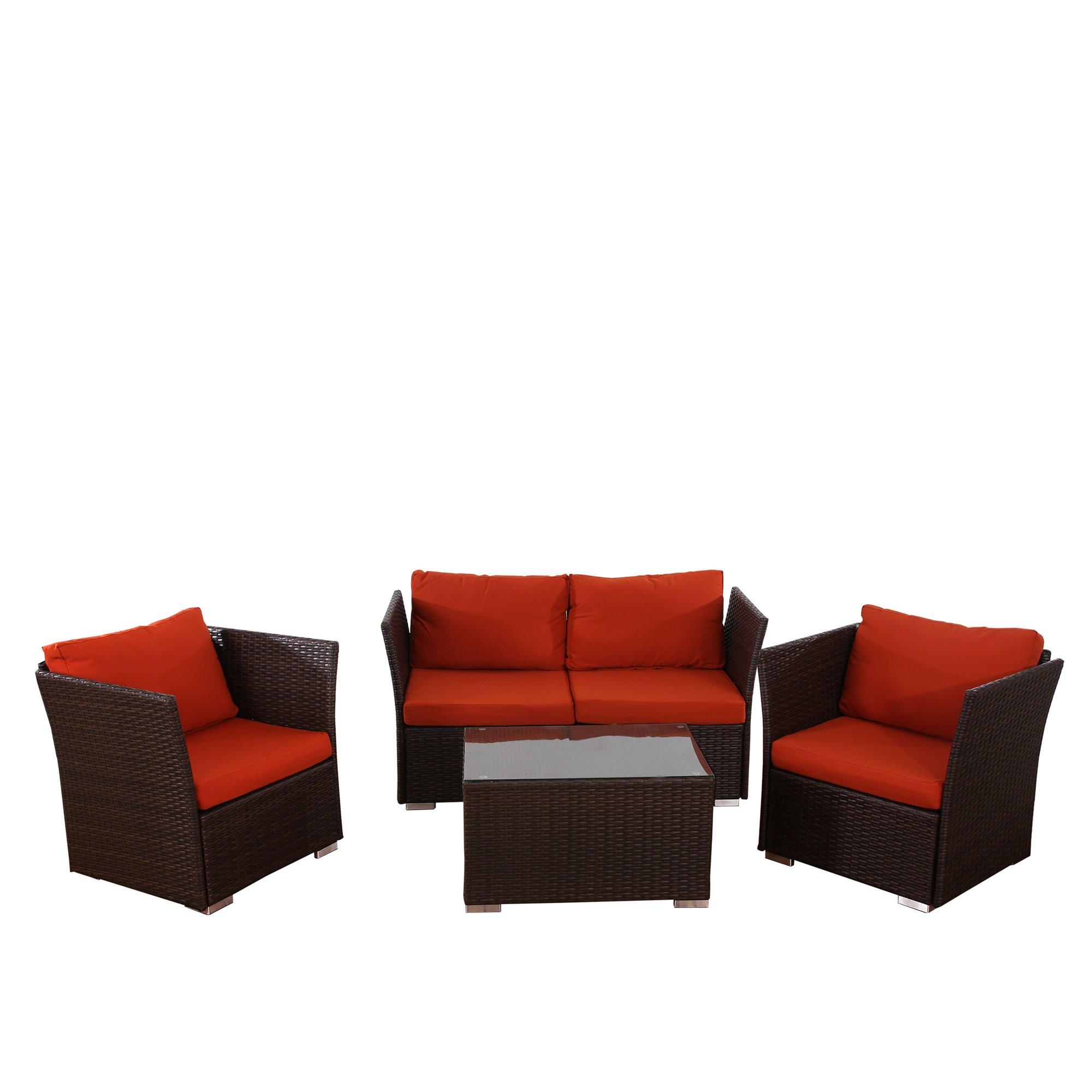 Conjunto de jardin siena sofa 2 sillones mesa for Sillones para jardin baratos