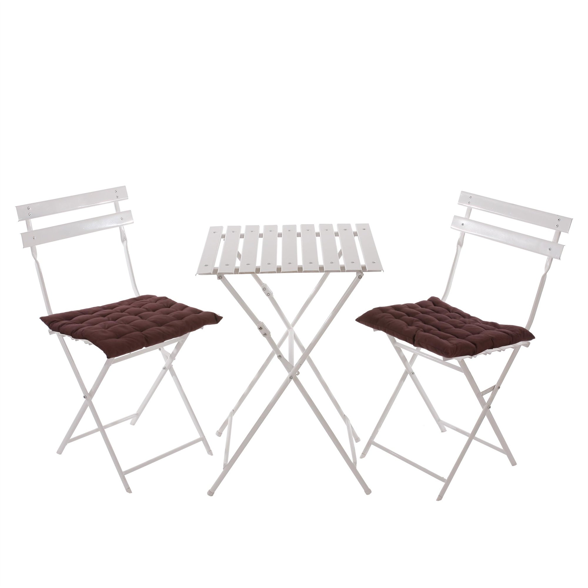 Conjunto de 2 sillas mesa para terraza en metal blanco for Sillas para terraza