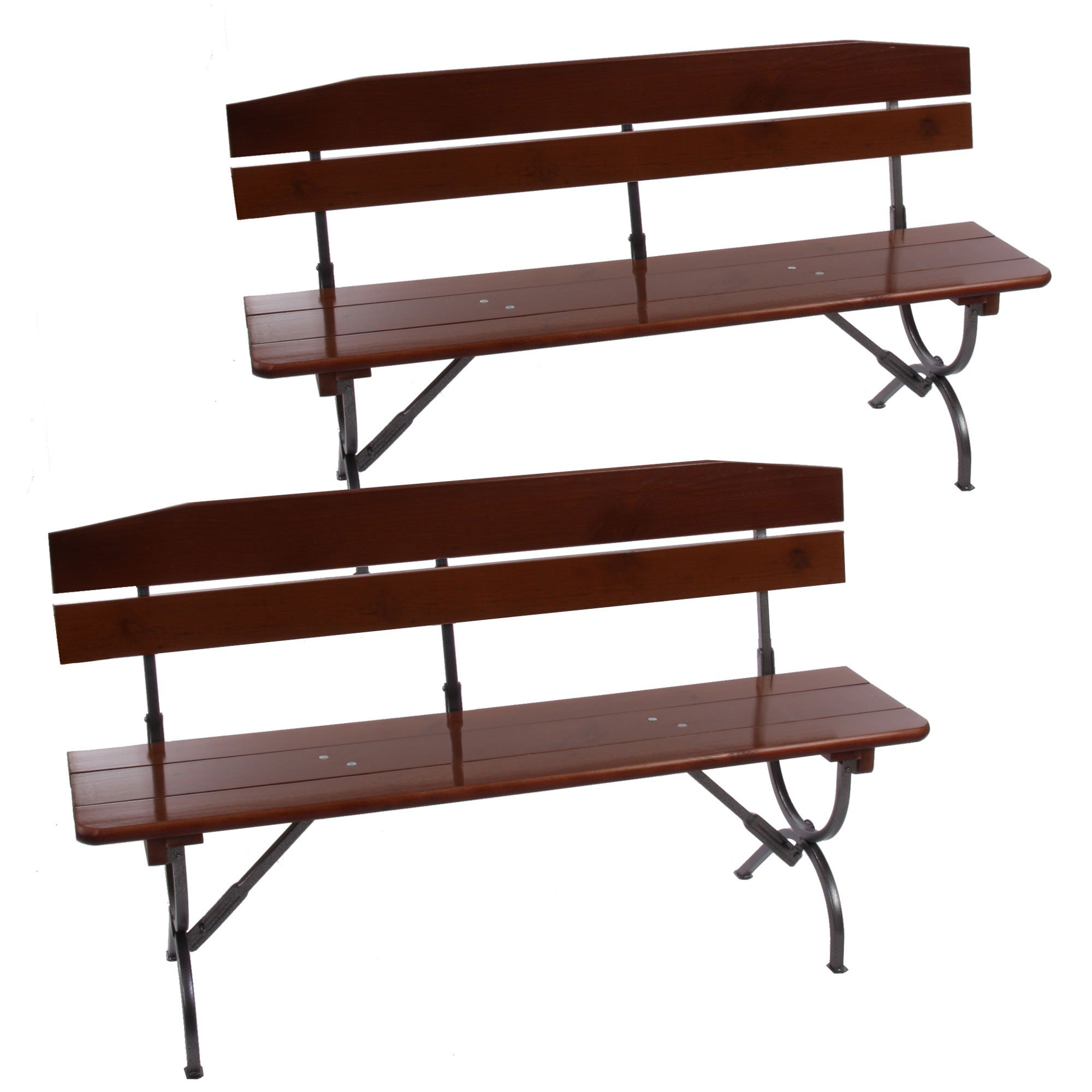 Set 2 bancos de madera para jard n o exterior de 180 cm for Banco para jardin exterior