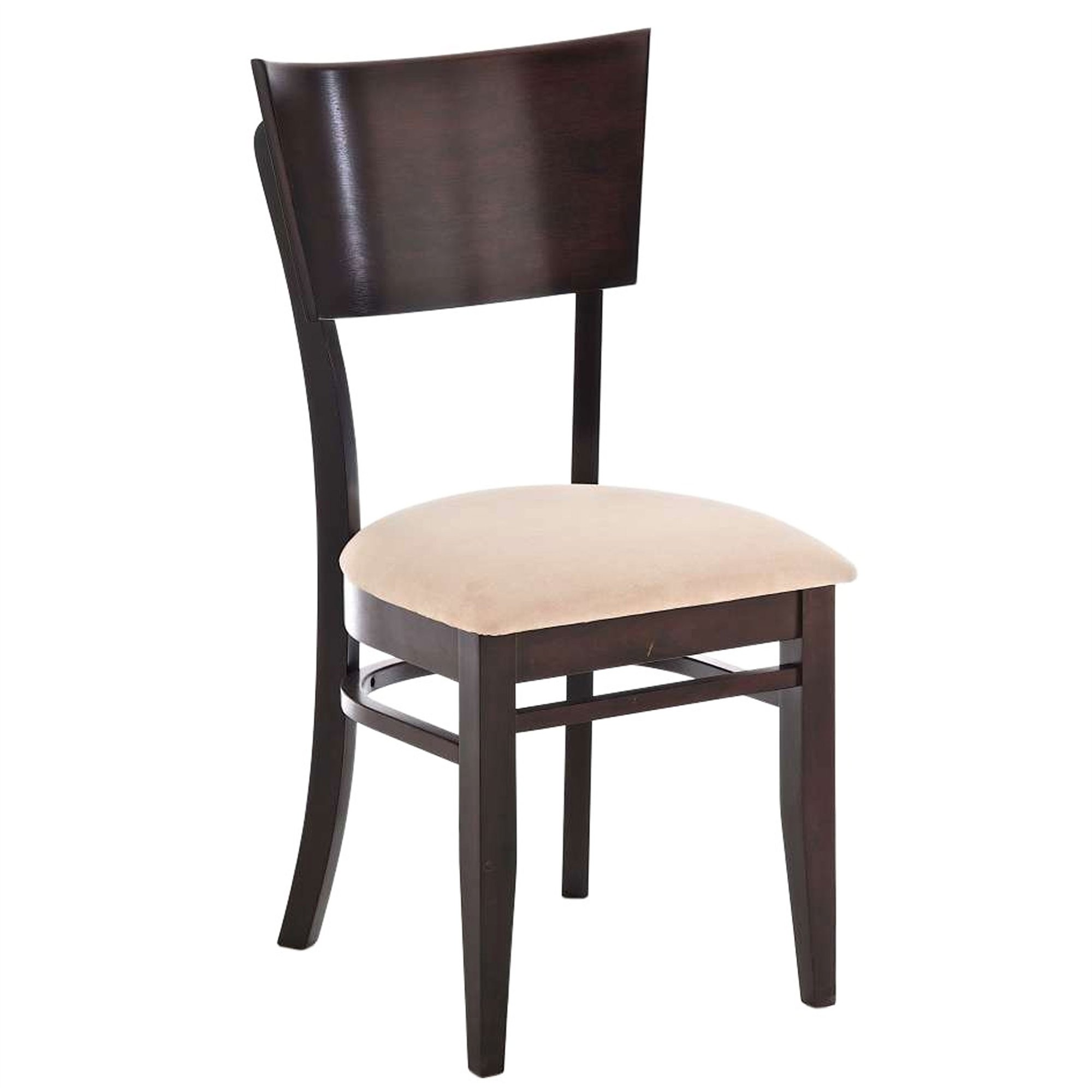 Silla de comedor en madera c33 color cappuccino arena for Comedor sillas colores