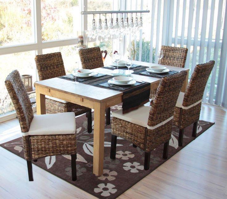 Lote 6 sillas de comedor sabana en mimbre y madera, color oscuro ...