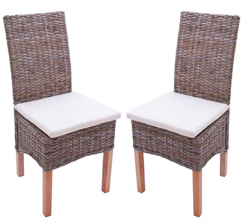 Lote 2 sillas m44 en madera y mimbre cojines incluidos for Cojines sillas comedor