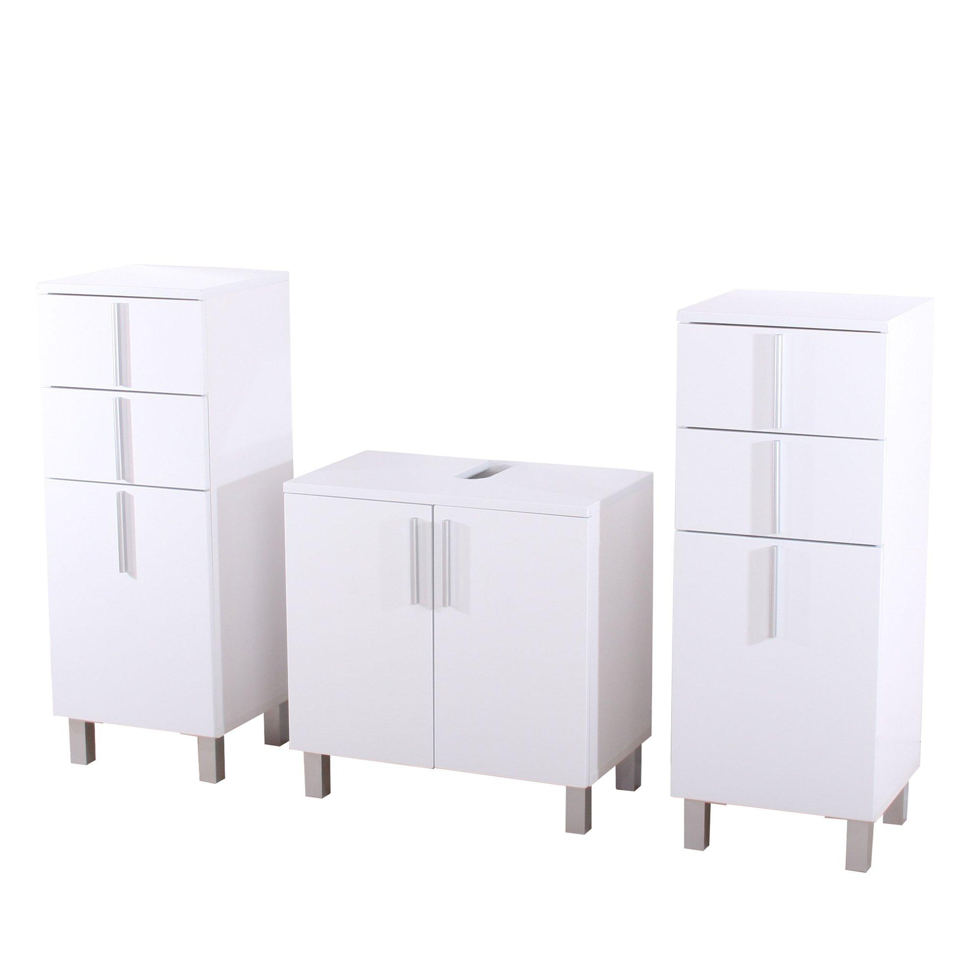 Conjunto 3 muebles para ba o nordik 2 armarios medianos y for Armario para lavabo