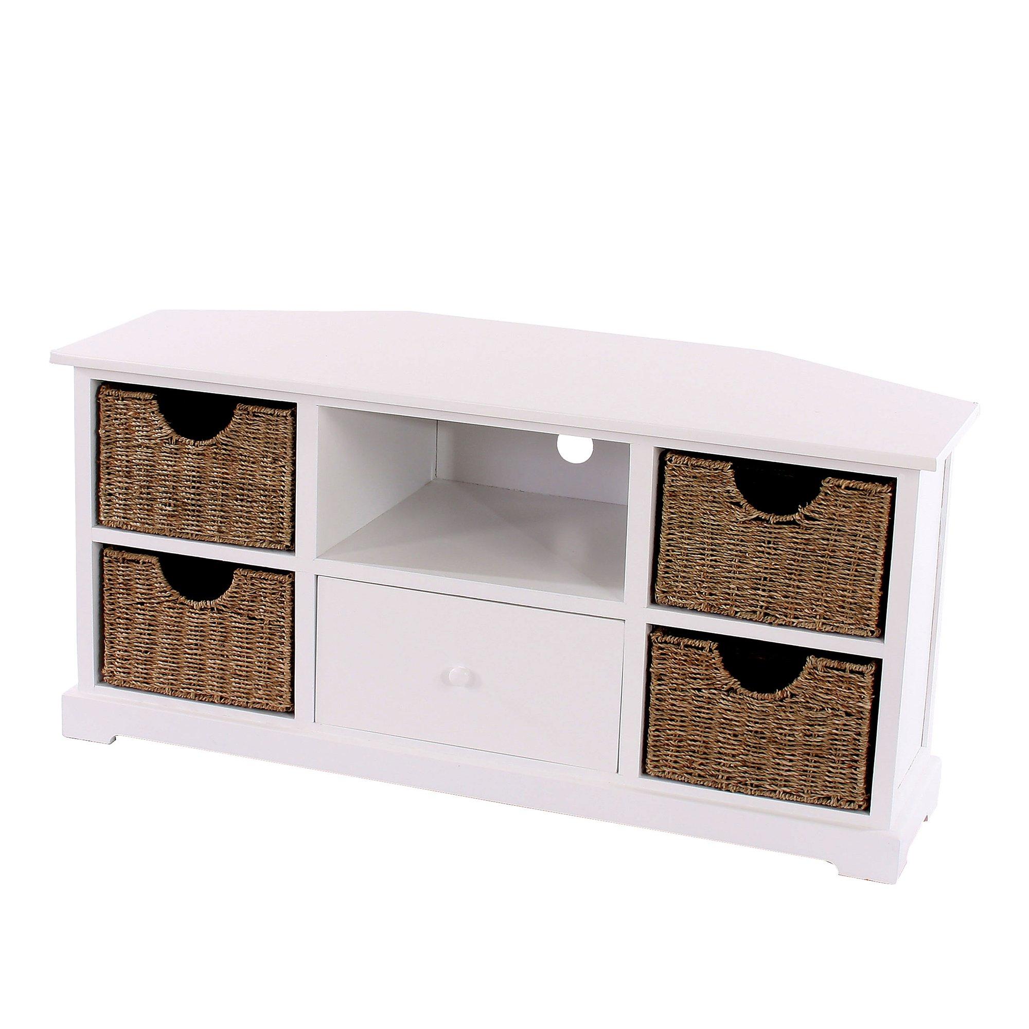Mesa de tv con estanter as tv y cajones de mimbre 110x45x51 cm blanca - Mesas de mimbre ...