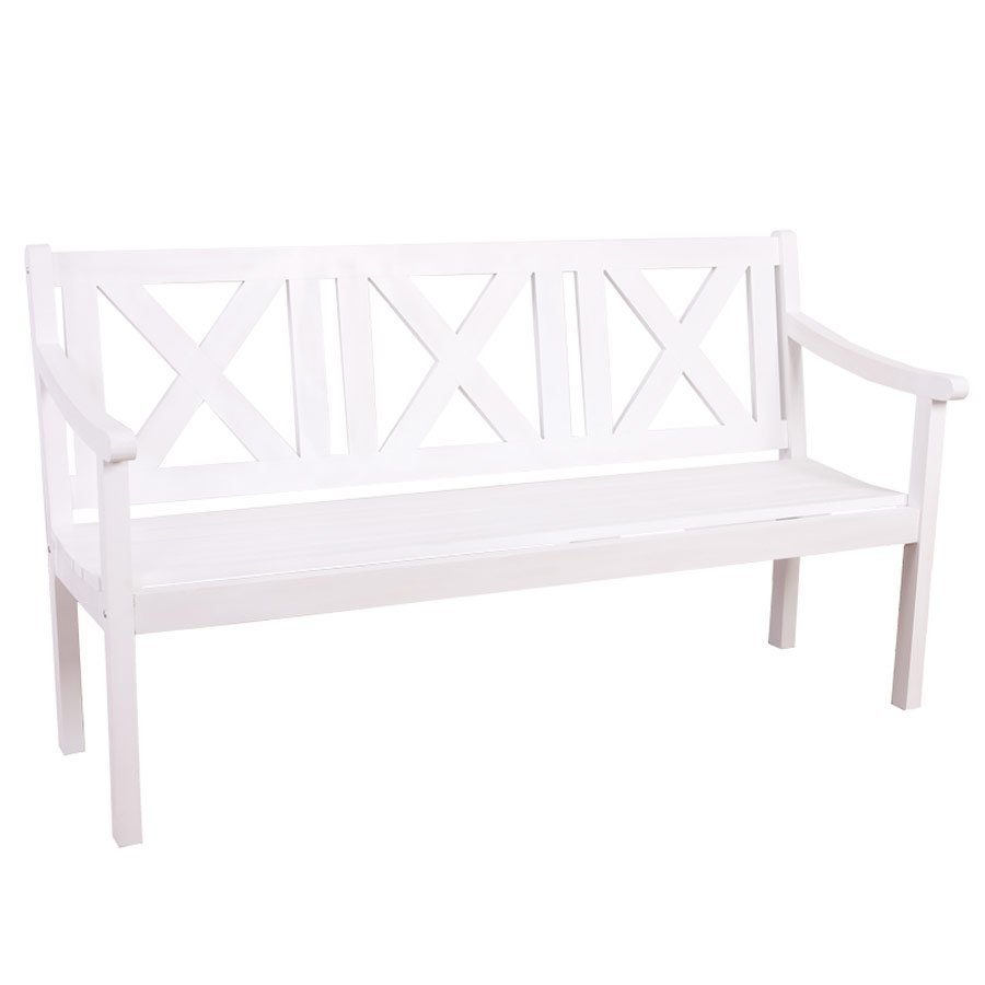 Banco para jard n o terraza copenhague en madera blanca for Banco madera jardin