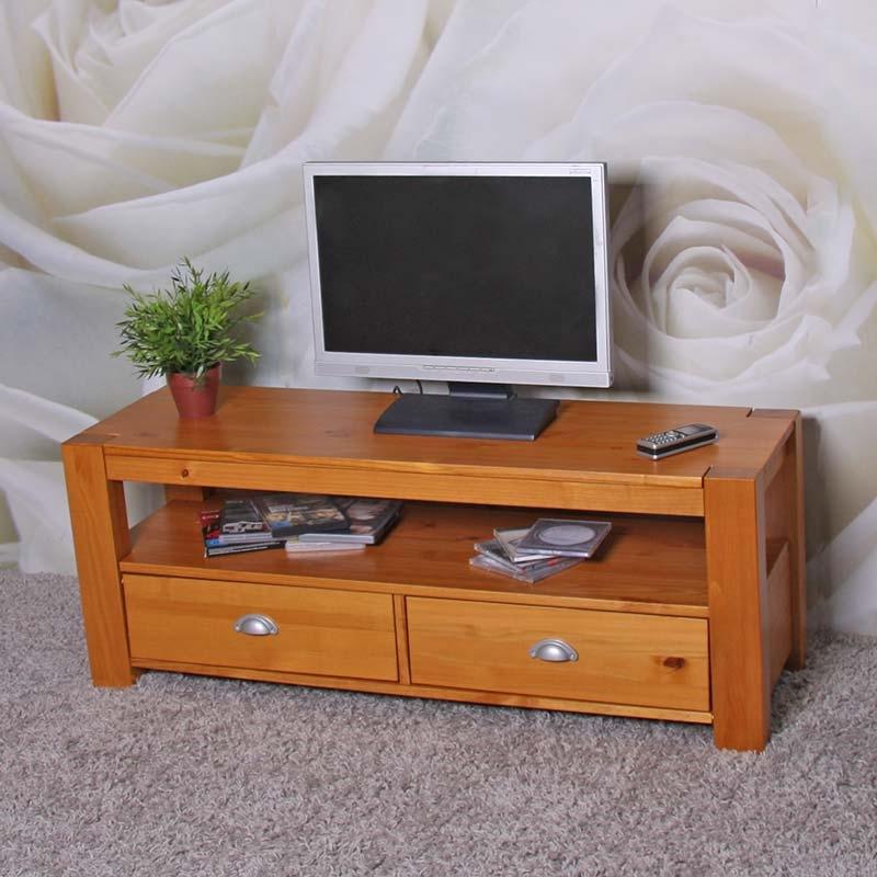 Mesa estante para tv lowboard en madera de pino macizo for Muebles de pino color miel