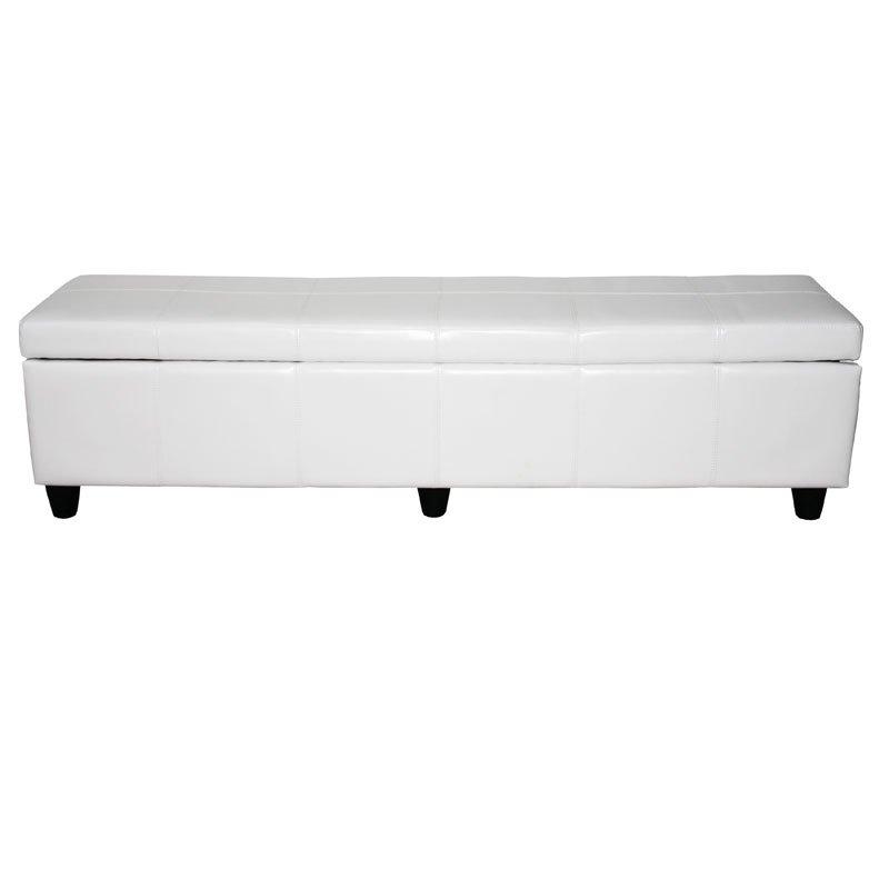Ba l banco para almacenaje xxl en piel blanca 180x45x45cm - Bancos de jardin con almacenaje ...