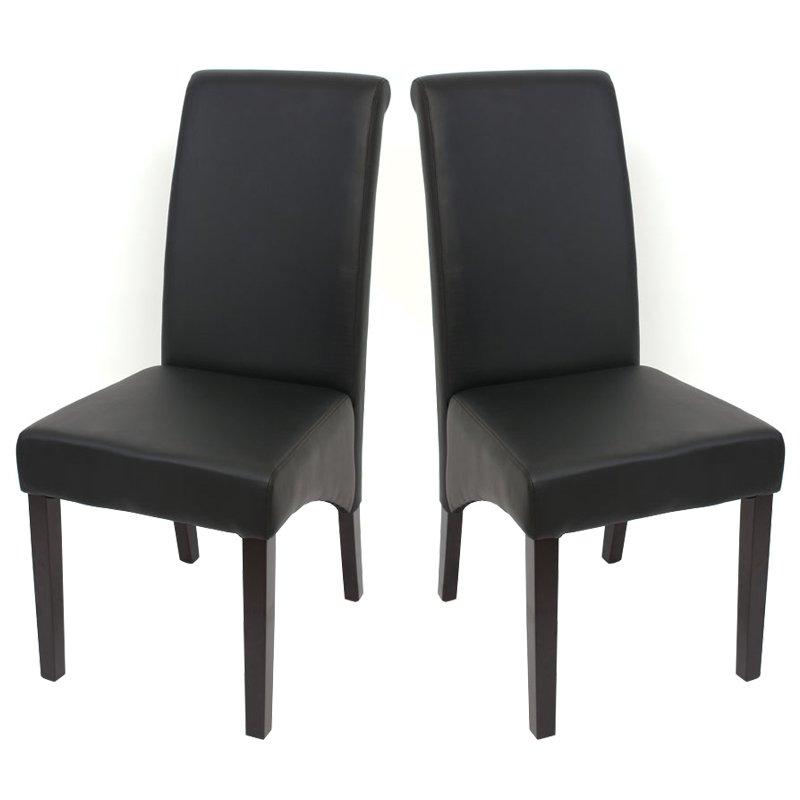 Lote 2 sillas de comedor turin tapizadas en piel negra y for Sillas negras tapizadas