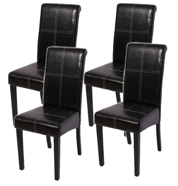 lote 4 sillas de comedor novara iii cuero color negro On sillas de comedor de cuero