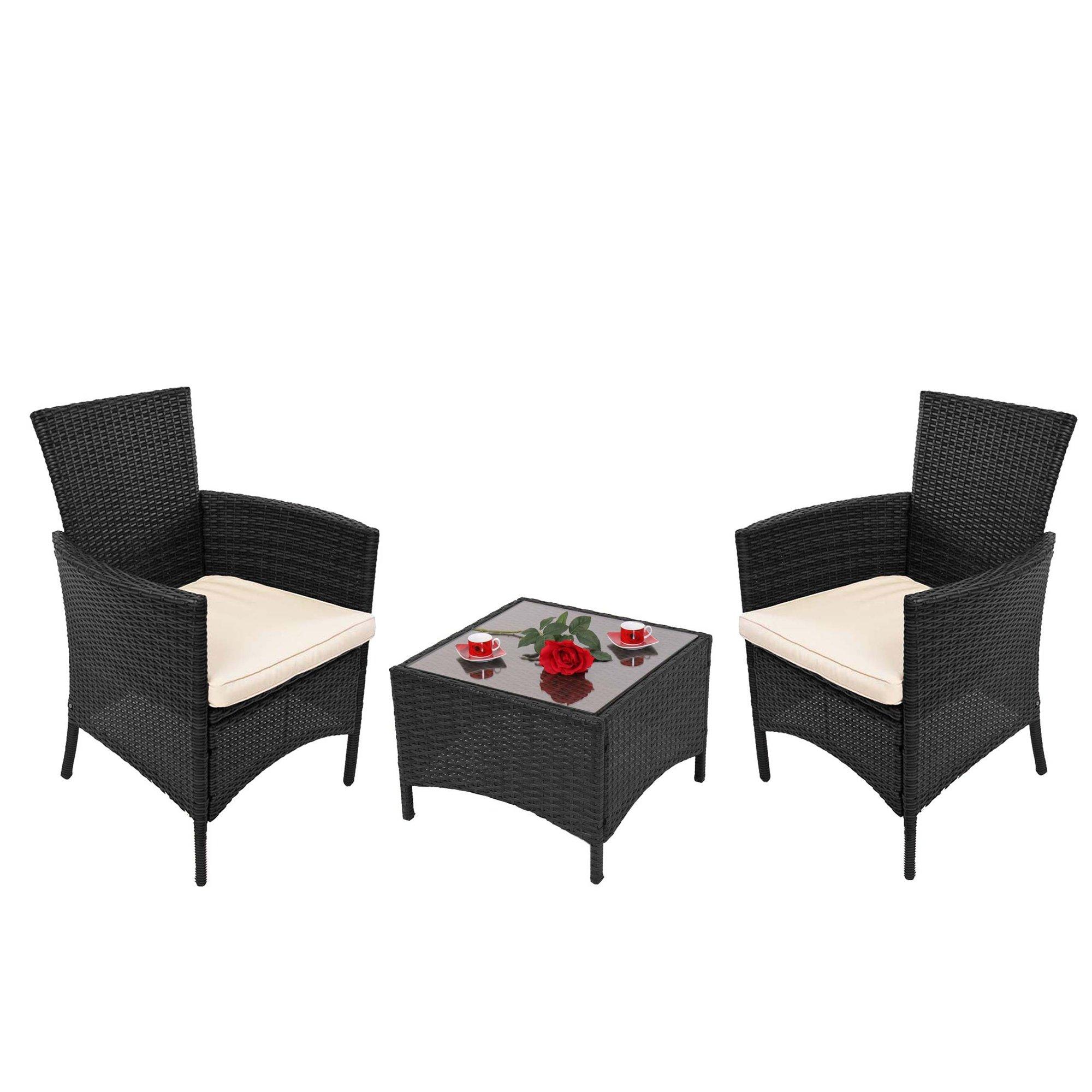 Lote 2 sillas de jard n mesa caf parma color negro for Oferta mesa y sillas jardin
