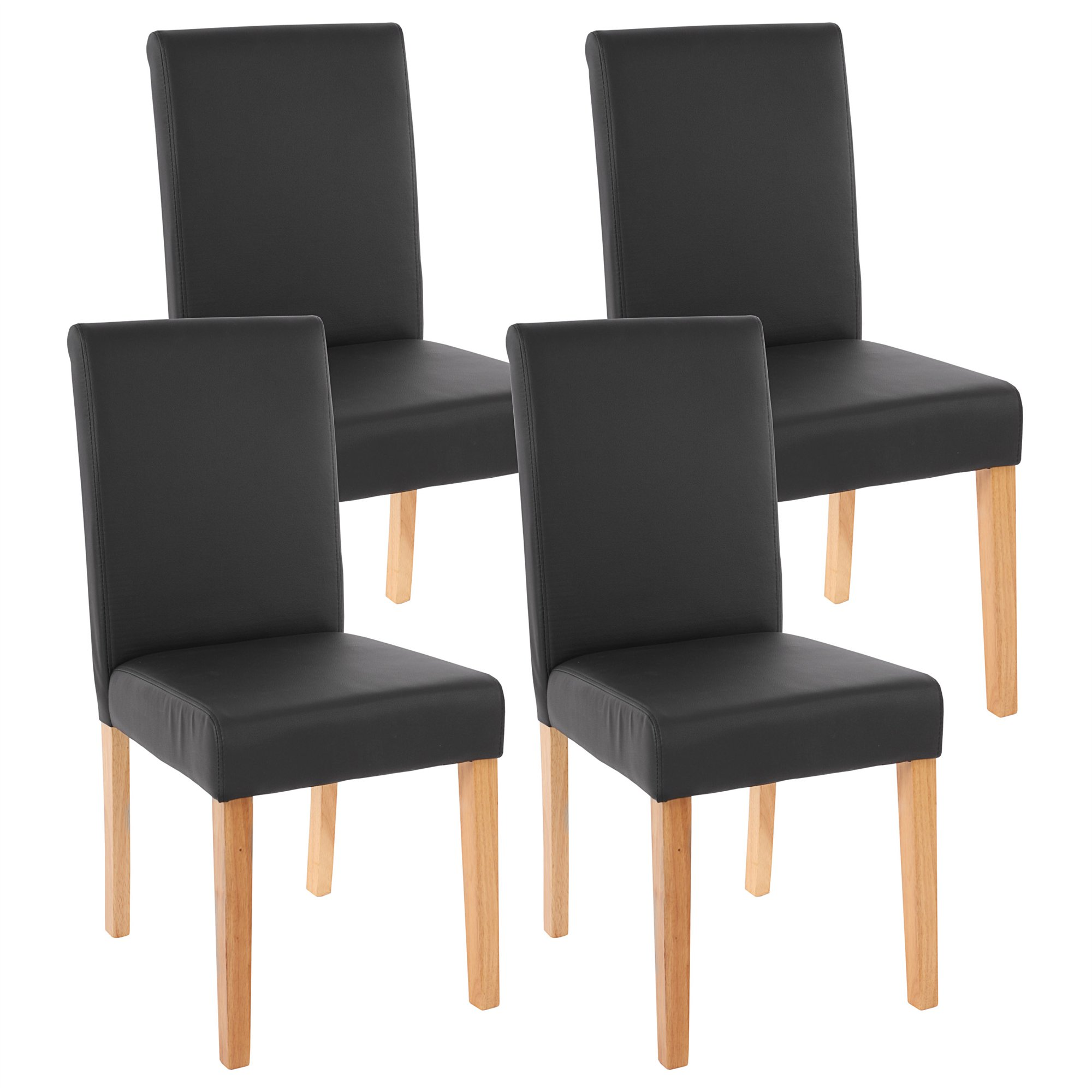 Conjunto 4 sillas de comedor litau en piel mate negra for Sillas de piel para comedor