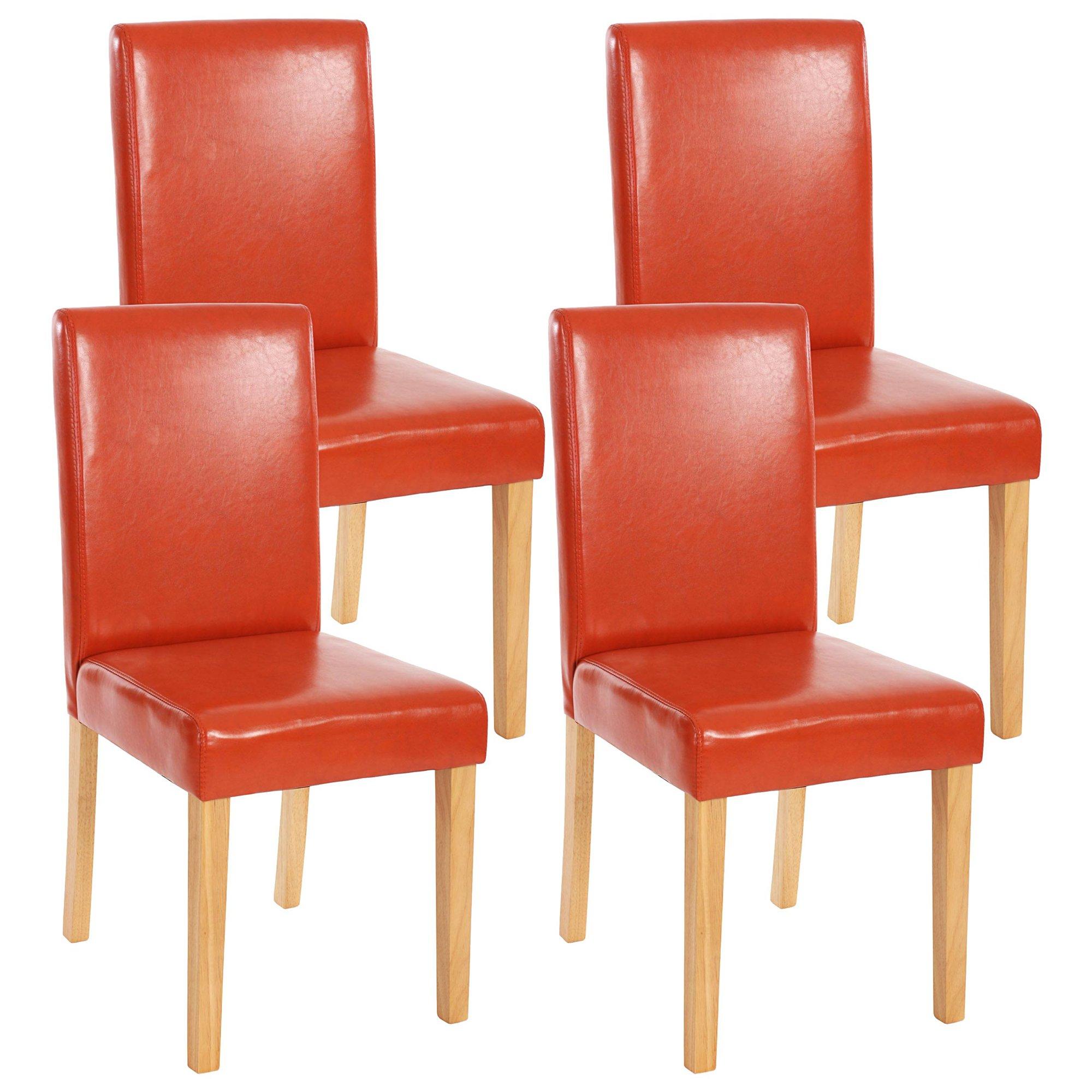 Lote 4 sillas de comedor litau en piel terracota lote 4 for Sillas de comedor de piel