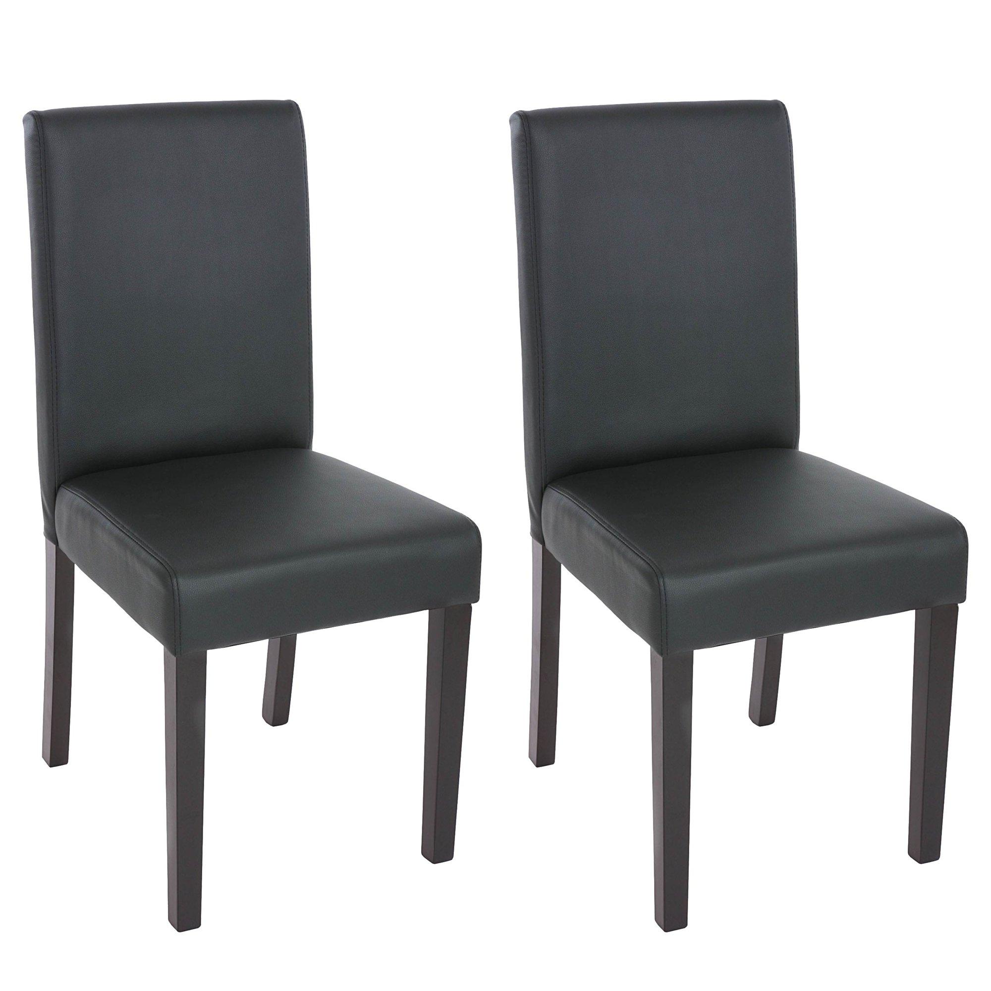 Lote 2 sillas de comedor litau en piel negra mate lote for Sillas negras para comedor