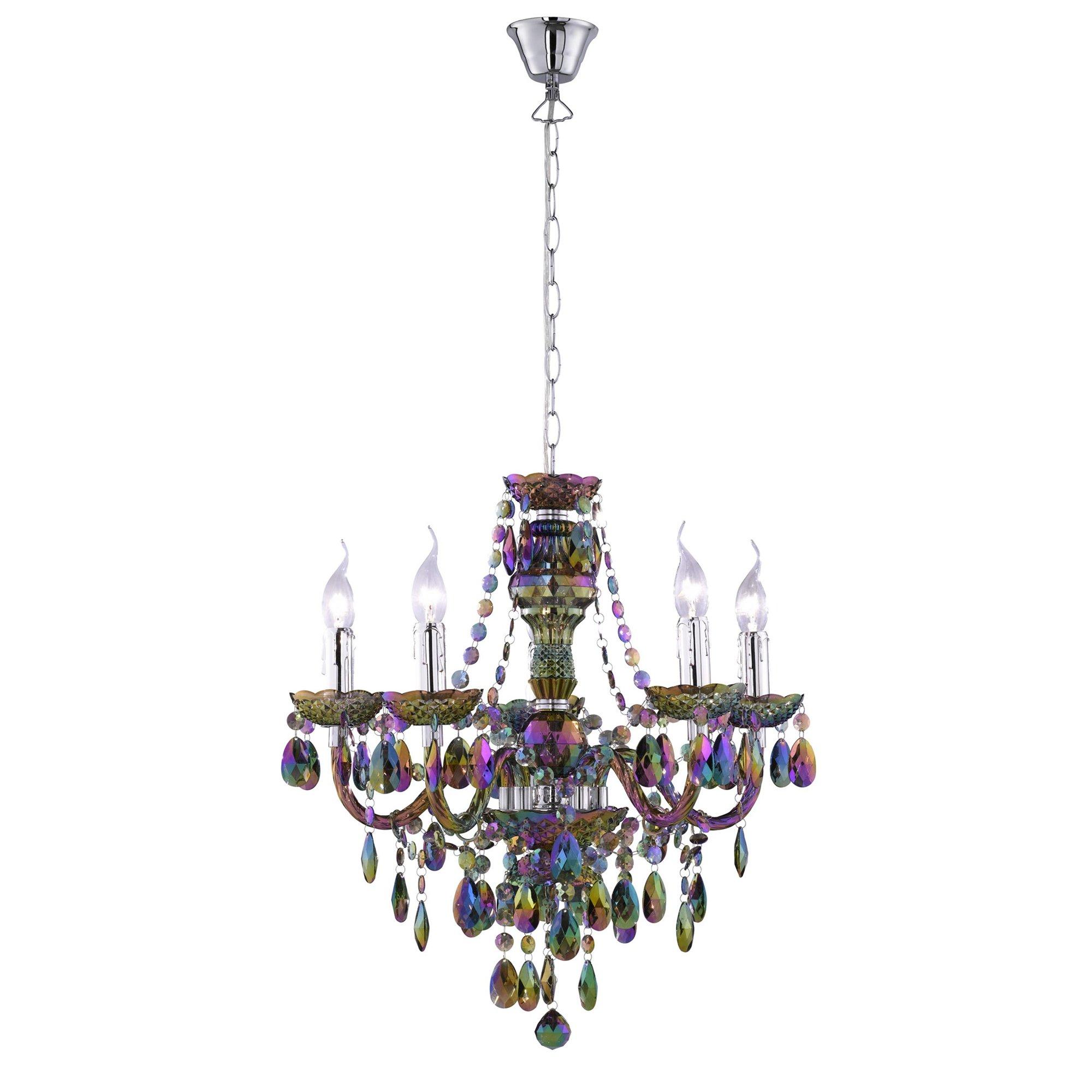 lmpara de techo tipo araa con puntos de luz fabricada en vidrio acrlico color arcoiris