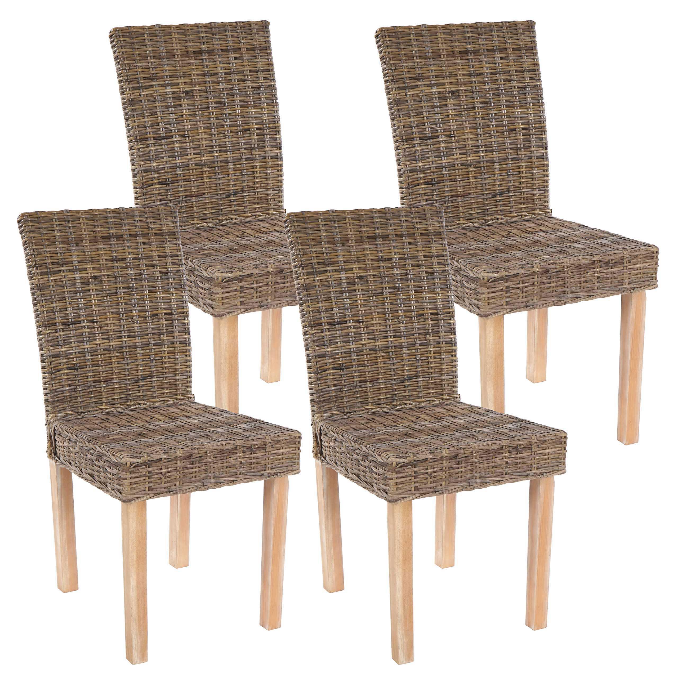 Lote de 4 sillas de comedor luca en poly rattan color for Muebles de madera color gris