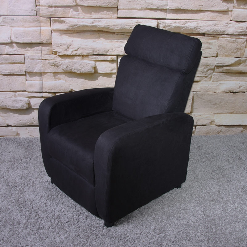 Sill n relax reclinable m47 en microfibra negro sill n for Sillon relax lectura
