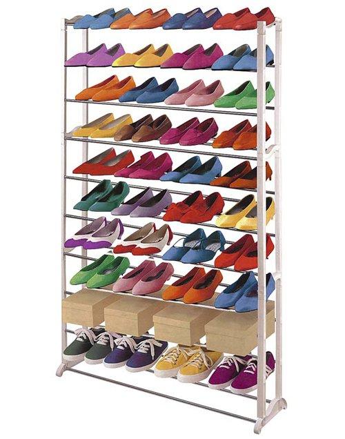 Zapatero con crucetas met licas para 30 pares blanco for Zapatero para 30 pares de zapatos