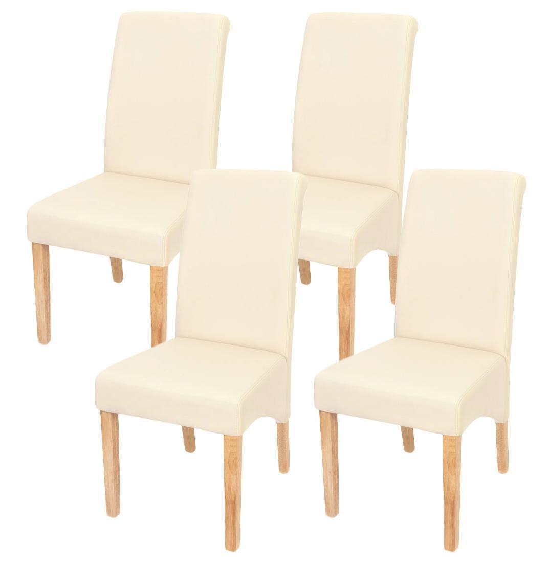 Lote 4 sillas de comedor turin tapizadas en piel crema y for Sillas de comedor tapizadas