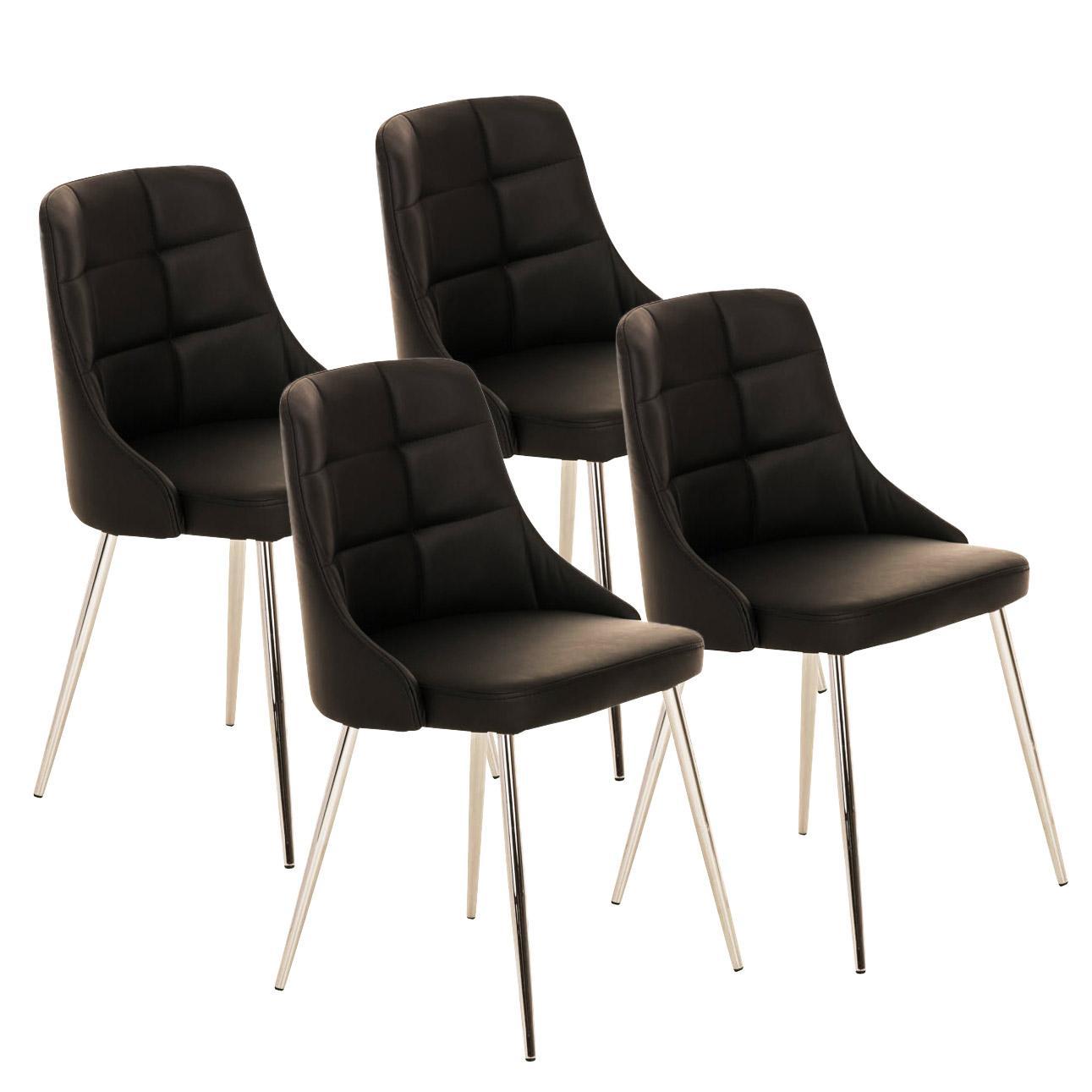 Lote 4 sillas de comedor o cocina harrison en piel negro for Sillas de piel para comedor