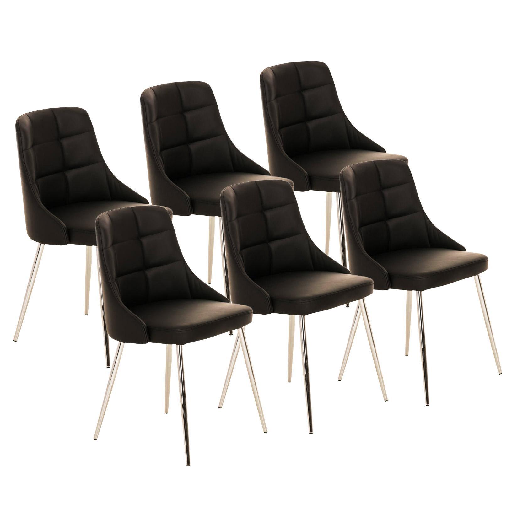 Lote 6 sillas de comedor o cocina harrison en piel negro for Sillas comedor patas metalicas