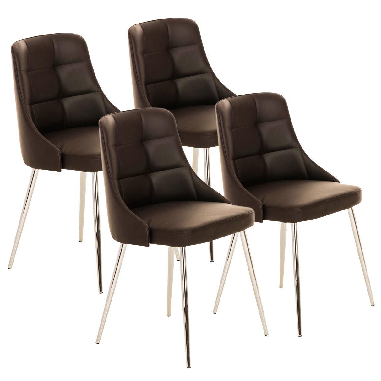 Lote 4 sillas de comedor o cocina harrison en piel marr n for Sillas comedor patas metalicas
