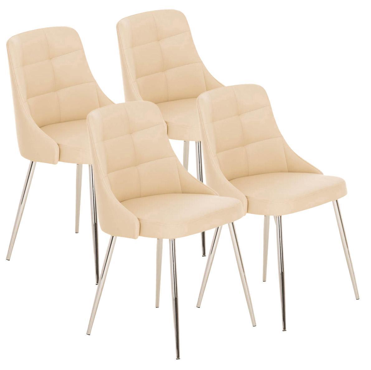 Lote 4 sillas de comedor o cocina harrison en piel crema for Sillas comedor patas metalicas