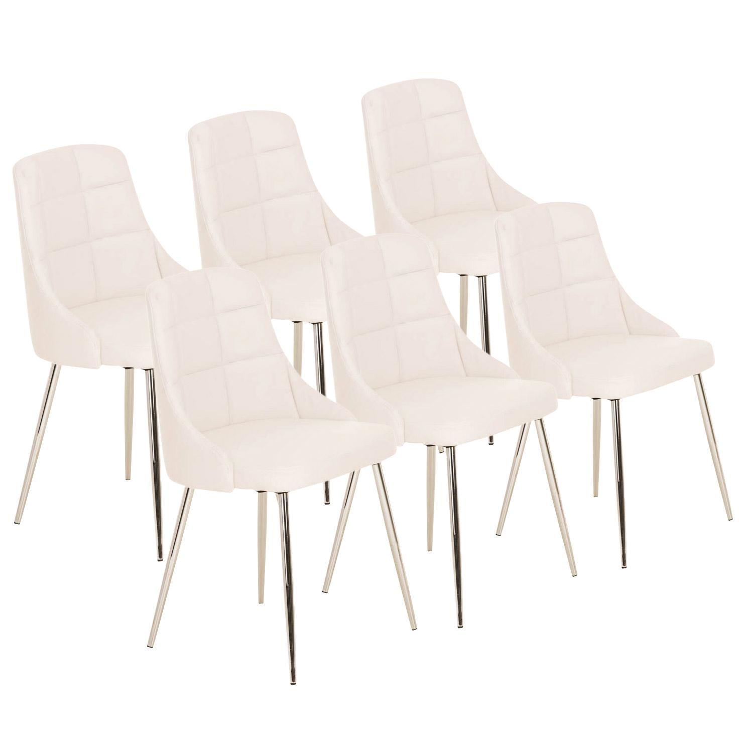 Lote 6 sillas de comedor o cocina harrison en piel blanca for Sillas comedor patas metalicas