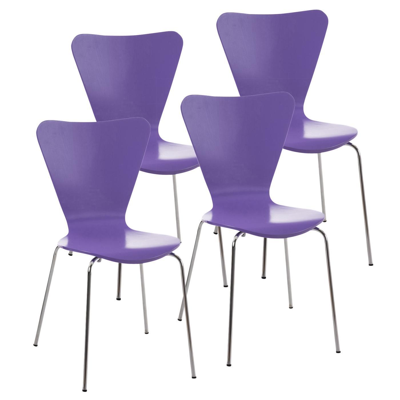 Lote 4 sillas de cocina o comedor lerma en morado lote 4 for Sillas para quincho apilables