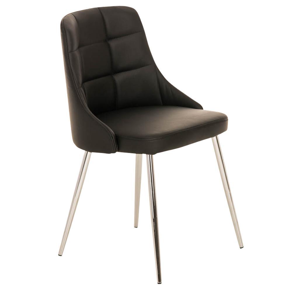 Silla de comedor o cocina harrison en piel negro silla for Sillas metalicas para comedor