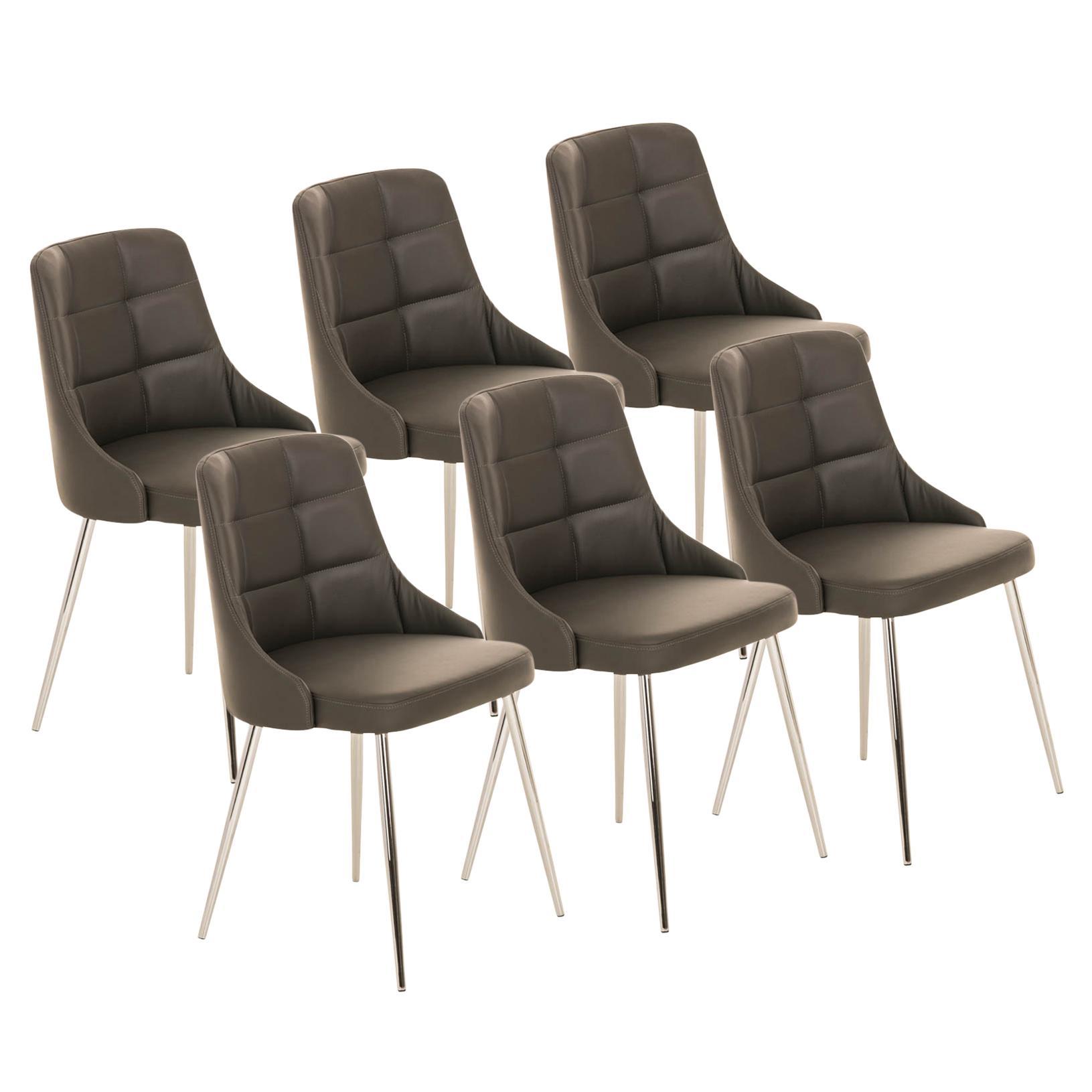 Lote 6 sillas de comedor o cocina harrison en piel gris for Sillas comedor patas metalicas