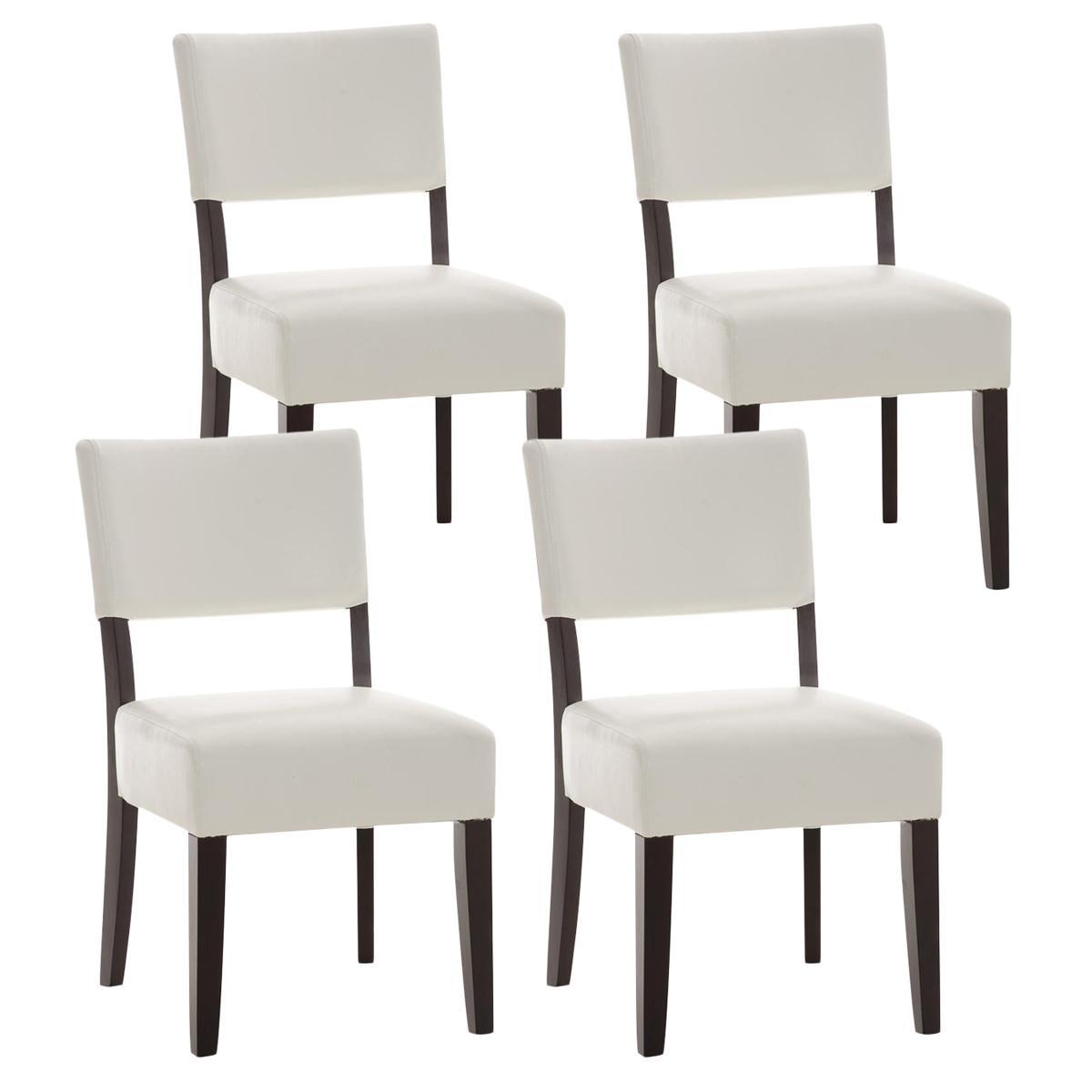 Lote de 4 sillas de comedor cristobal tapizadas en piel for Sillas de piel blancas