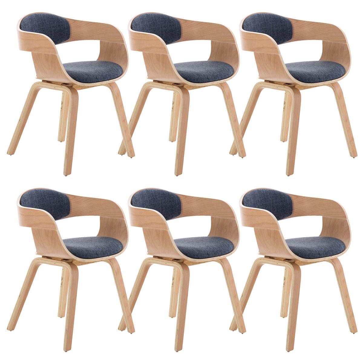 Conjunto de 6 sillas de comedor bolonia tapizadas en tela - Tela para sillas de comedor ...