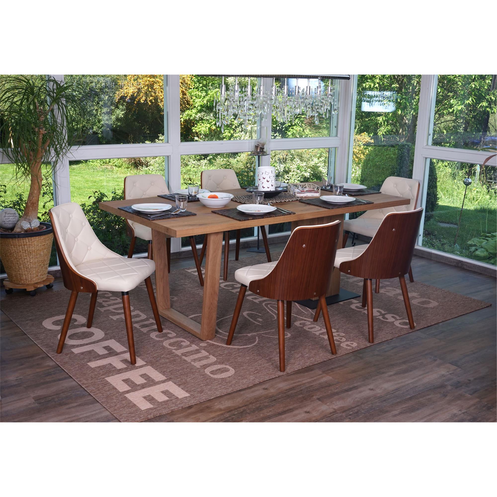 Lote 6 sillas de comedor baley en piel crema conjunto 6 for Sillas de comedor de piel
