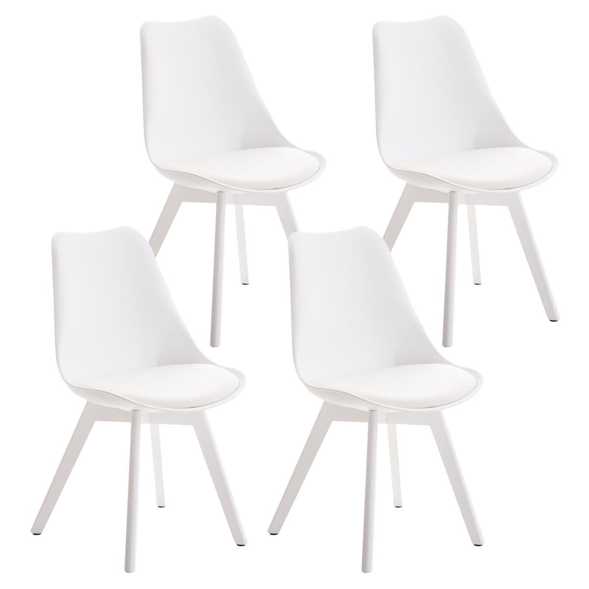 Sillas blancas comedor silla moderna tribecca polipiel for Sillas blancas de madera tapizadas
